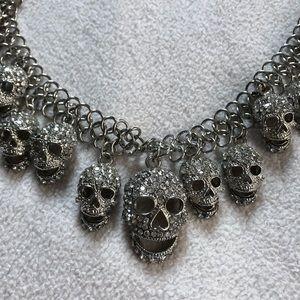 Rhinestone Skull Necklacd